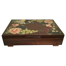"Fabulous 16 ½"" Hand painted Wood Box ~ Hand painted Lemons, Grapes, Strawberries and Flowers with Green Leaves"