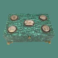 Antique Bronze Mounted Malachite Box w 5 Fabulous Micro Mosaic Plaques ~  Glorious Bracket Feet