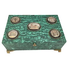 Antique Bronze Mounted Malachite Box w 5 Fabulous Micro Mosaic Plaques ~  Glorious Bracket Feet