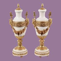 "21"" Antique French Ormolu Mounted White Marble Urns"