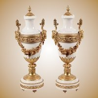 "MAGNIFICENT  21"" Antique French Ormolu Mounted White Marble Urns ~ Gorgeous Ornate Dore' Bronze Mounts"