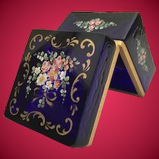 Spectacular  Antique French Cobalt Casket Hinged Box ~  Pretty Flowers w Extraordinary Ornate Gilding and Lift Clasp