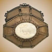 Beautiful 19C French Casket Hinged Box w Exquisite Cameo Plaque ~ RARE Shape and Ornate Footed Base