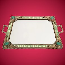 Gorgeous Antique Austrian Jeweled Vanity Tray ~  Beautiful Double Handles ~ Rare Color and Design ~ A BEAUTY!