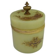 "Antique Green Opaline Powder Box "" Fabulous Gilding"""