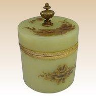 "Antique Green Opaline Powder Box "" Fabulous Gilding"""