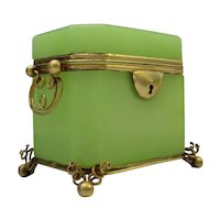 Antique French Green  Opaline Double Handle Casket Hinged Box ~  Pretty Double Handle and Rare Ball Footed Stand