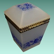 "Antique French Opaline Tall Hinged Box  "" Blue Flowers"""