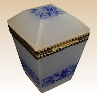 """Antique French Opaline Tall Hinged Box  """" Blue Flowers"""""""