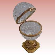 "Antique French Cut Crystal Casket Hinged Box "" Ornate Bronze Pedestal """