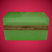 Exquisite and Beautiful  Antique French Green Opaline Casket Hinged Box  ~ Ornate Gilt Mounts