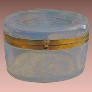 "Antique Bulle de Savon Opaline Casket Hinged Box Casket  ~ ""BIG OVAL"" ~ Glowing with LUSH Colors"
