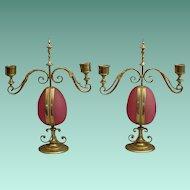 "Antique Opaline Candelabras Watch holders ""RARE & MAGNIFICENT"""