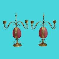 """""""PAIR""""  Antique Opaline Candelabras Watch holders"""