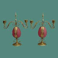 """PAIR""  Antique Opaline Candelabras Watch holders"