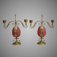 """PAIR""  Antique Opaline Candelabras Watch holders ""RARE & MAGNIFICENT"""