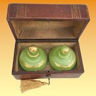 "Grandest Antique French Scent Casket ""Awesome BIG Green Opaline Scents Bottles"""