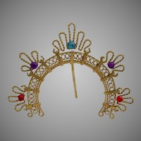 Tiny Jeweled Bronze Filigree Halo