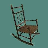 Antique Painted Wood Doll Child's Rocking Chair with Tacks