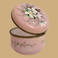 Antique French Hand painted Pink Opaline Casket Hinged Box W Smooth Gilt Mounts and S Clasp