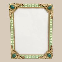"""Antique Austrian Jeweled Easel Back Frame ~ Spectacular Pearls and Giant Gems ~ Superior Quality and Ready to Hold Your 10 ¾"""" x 8"""" Prize Photo."""