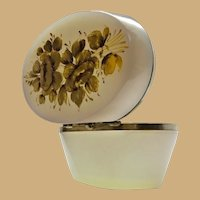 Antique French Ecru Oval Opaline Hinged Box ~ Pretty Smooth Gilt Mounts & Lovely Gold Flower