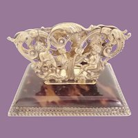 Antique Putti Tortoise and Silver Letter Holder ~ A STUNNING  DESK TREASURE
