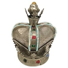 """Fred Zimbalist, Thoren Music Box  ~Jeweled Musical Crown Hinged """"Skaters Waltz"""" ~ RARE Smaller Size"""