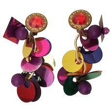 WILD   Multi Color DISC Clip Earring ~ A Multi Colored Disc Masterpiece!