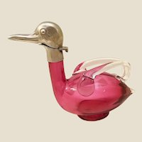 Antique AUSTRIAN Glass Duck Decanter wClear Applied Double Handles and Base  ~ Brass Hinged Head that Flips and Stamped: AUSTRIAN