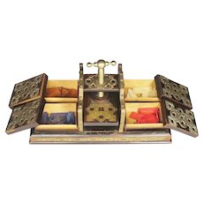 Antique Gambling Card Press with Gaming Chip Boxes