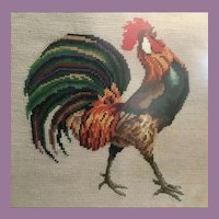 Pair Framed Needlepoint  SASSY ROOSTERS
