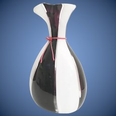"Magnificent  16 ½""  Lico Zanetti Art Glass Vase~   Purple,  White, Clear with a Red Neck Tie ~ A Killer Vase  ~ A SUPER  WOW!"