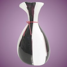 "Magnificent  16 ½""  Lico Zanetti Art Glass Vase~   Purple,  White, Clear with a Red Neck Tie ~ A Killer Vase  ~ A SUPER  WOW!"