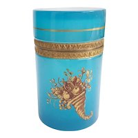 Beautiful  Tall Teal Turquoise Hinged Box ~ Fancy Mounts and Lovely Gilding Flowers