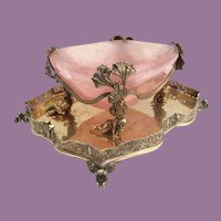 19C  Pink Quartz Bowl Resting in 800 Figural Gilt Silver ~  Perfect Sweetmeat, Caviar, Trinket  Keeper