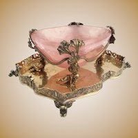 GLORIOUS 19C  Pink Quartz Bowl Resting in 800 Figural Gilt Silver ~ Perfect Sweetmeat, Caviar, Trinket  Keeper
