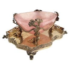 GLORIOUS 19C  Pink Quartz Bowl Resting in 800 Figural Gilt Silver ~ Perfect Sweetmeat, Caviar, Trinket  Keeper