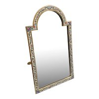 Antique French Champlevé Bronze Table Top Mirror ~ Charming Shape and Divine Colors ~  Original Beveled Mirror