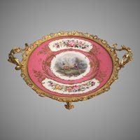 RARE 19C French Sevres Porcelain Double Handle Compote ~ Gilt Ormolu Floral Garland Swags and Footed Base