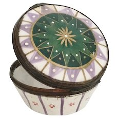 MD 18C English Lilac, Green and White Enamel Patch Box ~ AS IS! ~   Take a Look!