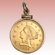 1903   $2.5  Liberty Head Dollar Gold Coin in a 14KARAT Gold Frame  ~ Ready to Wear and Enjoy a Piece of American Gold Coin History