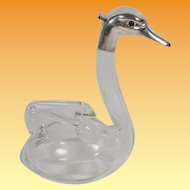 """Austrian Crystal Duck Decanter ~ Crystal Decanter with Applied Double Handle and White Metal """"Glass Eyes"""" Head"""