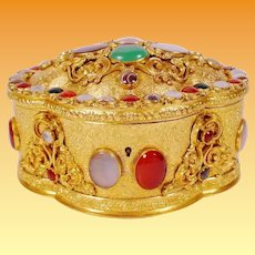 GRANDEST French Jeweled Bronze Casket Hinged Box ~ Covered in Striped Agate, Moonstone, Carnelian, Blood Stones , and  Green Stones ~