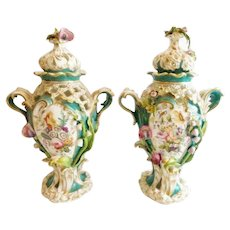 Antique English Hand Painted Porcelain Reticulated Covered Urns ~ Beautiful Applied Flora motif and Double Handles ~ Exquisite Urns