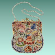 Magnificent 1900 Austrian Jeweled Purse ~ Nine Oval Amethyst and Ten Carnelian Gems ~  Stamped AUSTRIA