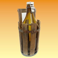 """Vintage Estate 15 ½"""" Klass Amber Glass Bottle w Porcelain Top ~  Fitted Wood Crate with Handle"""