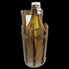 "Vintage Estate 15 ½"" Klass Amber Glass Bottle w Porcelain Top ~  Fitted Wood Crate with Handle"