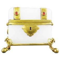 Antique French Jeweled Opaline Casket Hinged Box ~  Beautiful White Opaline with Double Handles and Jeweled Gilt Bronze Straps Studded ~ RED GEMS ~ Bow Tied Ball Footed Base