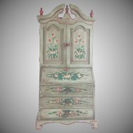 Darling Vintage  Miniature Secretary Bookcase~ Display a Tiny Book Collection or Any Small Collection with Open Doors